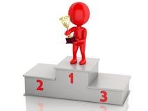 vencedor 3d que comemora no pódio com troféu Fotografia de Stock
