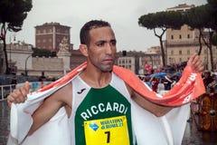 Vencedor de Jamel Chatbi do terceiro lugar na maratona de 21 Roma Fotos de Stock Royalty Free