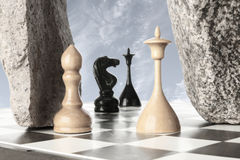 Vencedor do branco do rei da batalha da xadrez? Fotos de Stock