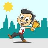 Vencedor e troféu do homem de negócio Imagem de Stock