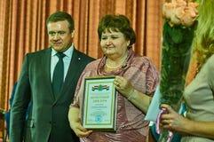 Vencedores da competição para o melhor empregado da legislatura na região de Kaluga de Rússia em 2016 Imagens de Stock