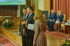 Vencedores da competição para o melhor empregado da legislatura na região de Kaluga de Rússia em 2016 Imagem de Stock Royalty Free
