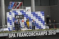 Vencedores da raça de fórmula 1 Fotografia de Stock Royalty Free