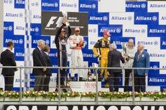 Vencedores da raça de fórmula 1 imagem de stock