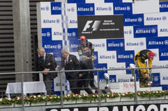 Vencedores da raça de fórmula 1 fotografia de stock