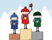 Vencedores de medalha olímpicos dos atletas do inverno Foto de Stock Royalty Free