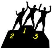 Vencedores olímpicos no estrado ilustração do vetor