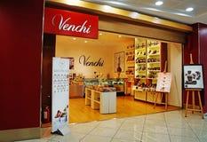 Venchi choklad shoppar tullfritt på den Capodichino Naples flygplatsen Italien Arkivbilder