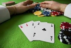 Vencimento com o póquer dos ás Fotos de Stock