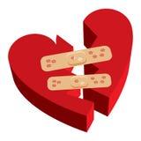 Venda-ayudas del corazón quebrado Imagenes de archivo