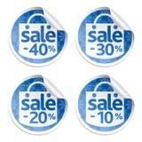 A venda azul da etiqueta do ano novo ajustou 10,20,30,40 com flocos de neve Imagens de Stock Royalty Free