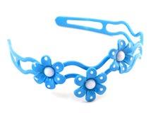Venda azul del pelo con tres flores Imagen de archivo