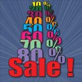 Venda com por cento Imagens de Stock Royalty Free