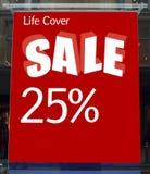 Venda cor-de-rosa e amarela Sinal da venda da tampa da vida Venda 25% da tampa da vida fora Fotografia de Stock
