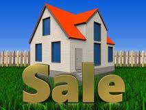 a venda 3d assina sobre o gramado e a cerca Fotos de Stock