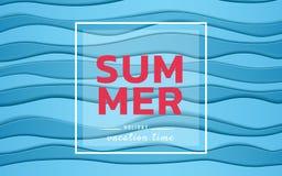 Venda da bandeira do verão Ondas azuis do papel do mar da vista superior Estilo sazonal do corte do papel da propaganda do projet Fotografia de Stock