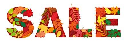Venda da inscrição da folha do outono Elementos isolados do projeto Ilustração do vetor Olá! outono novo Fotos de Stock Royalty Free