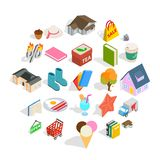 A venda de ícones da etiqueta ajustou-se, estilo isométrico ilustração stock