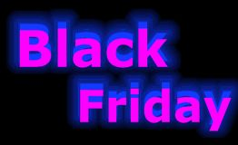 A venda de Black Friday de néon assina dentro o azul no fundo preto foto de stock royalty free