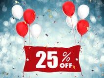 venda de 25% fora da bandeira no fundo azul Fotografia de Stock Royalty Free