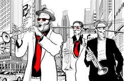 Venda de jazz en una calle de Nueva York stock de ilustración