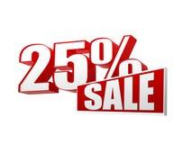 venda de 25 porcentagens nas letras 3d e no bloco Foto de Stock Royalty Free