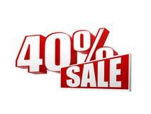 venda de 40 porcentagens nas letras 3d e no bloco ilustração do vetor