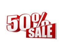 venda de 50 porcentagens nas letras 3d e no bloco Fotos de Stock