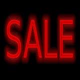 Venda de promoção de néon do sinal da venda imagem de stock