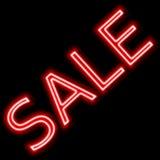 Venda de promoção de néon do sinal vermelho da venda fotos de stock