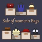 Venda de sacos das mulheres s Vários sacos das mulheres s em suportes da exposição com preços Pode ser usado para um cartaz ou in ilustração stock
