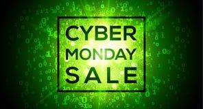 Venda de segunda-feira do Cyber no fundo verde binário digital do vetor dos números do código 1 e 0 no estilo da matriz ilustração do vetor