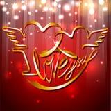 Venda del día de tarjeta del día de San Valentín del vector - te amo Foto de archivo