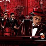 Venda del Piano-Jazz en un restaurante Fotografía de archivo