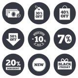 A venda desconta o ícone Comprando, sinais do negócio Imagens de Stock