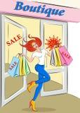Venda Discontos em lojas de roupa do ` s das mulheres ilustração royalty free