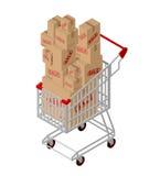 Venda do carrinho de compras e da caixa isométrica Foto de Stock