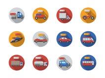 A venda do carro presta serviços de manutenção em volta dos ícones lisos da cor Imagens de Stock Royalty Free