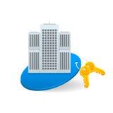 Venda do conceito e aluguel de apartamentos da cidade Imagens de Stock