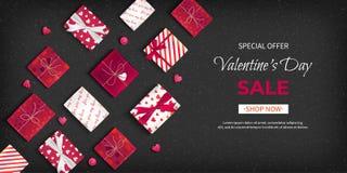 Venda do dia de Valentim de oferta especial Inseto do disconto, venda sazonal grande Bandeira horizontal da Web com caixas de pre ilustração stock