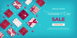 Venda do dia de Valentim de oferta especial Inseto do disconto, venda sazonal grande Bandeira horizontal da Web com muitas caixas ilustração stock