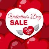 Venda do dia do ` s do Valentim com voo do coração ilustração royalty free