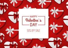 Venda do dia do Valentim s Fundo vermelho com caixas de presente Vetor Imagem de Stock