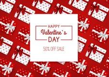 Venda do dia do Valentim s Fundo vermelho com caixas de presente Vetor Imagens de Stock