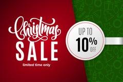Venda do feriado do Natal 10 por cento fora com etiqueta de papel no fundo com ícones Tempo limitado somente ilustração do vetor