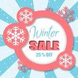 Venda 25% do inverno fora da imagem cor-de-rosa do vetor do círculo Fotografia de Stock