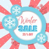Venda 25% do inverno fora da imagem do vetor de Blue Circle Imagem de Stock Royalty Free