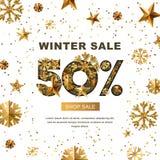 Venda do inverno 50 por cento fora, bandeira com as estrelas do ouro 3d e flocos de neve Fotografia de Stock
