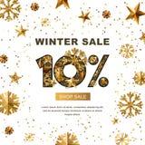 Venda do inverno 10 por cento fora, bandeira com as estrelas do ouro 3d e flocos de neve Fotografia de Stock Royalty Free
