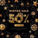 Venda do inverno 50 por cento fora, bandeira com as estrelas do ouro 3d e flocos de neve Fotos de Stock Royalty Free